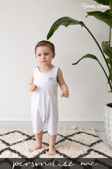 Personalised White Short Leg Romper Suit by Forever Sewing