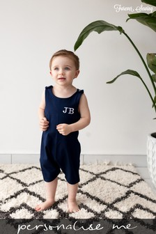 Personalised Navy Short Leg Romper Suit by Forever Sewing
