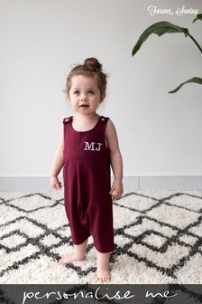 Personalised Burgundy Short Leg Romper Suit by Forever Sewing