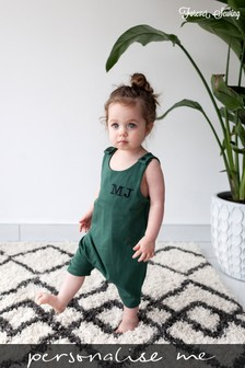 Personalised Green Short Leg Romper Suit by Forever Sewing