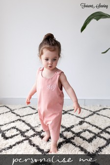 Personalised Peach Short Leg Romper Suit by Forever Sewing