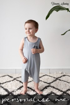 Personalised Grey Short Leg Romper Suit By Forever Sewing