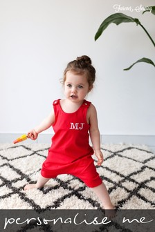Personalised Red Short Leg Romper Suit By Forever Sewing