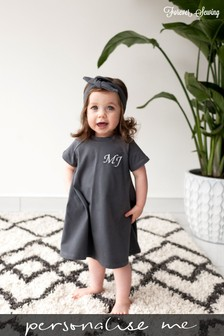 Personalised Charcoal Short Sleeve Swing Dress by Forever Sewing