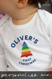 Personalised Organic Cotton First Christmas Baby Romper by Percy & Nell