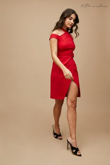 Little Mistress Red Easton Halterneck Bow Detail Dress
