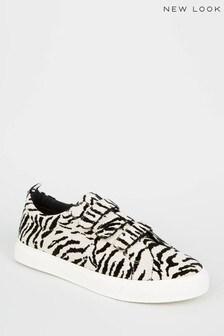 New Look Velvet Zebra Print Trainers