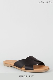 New Look Black Wide Fit Comfy Footbed Mule
