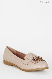 New Look Faux Croc Tassel Loafers