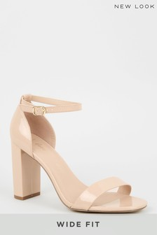 New Look Cream Wide Fit Patent 2 Part Block Heels