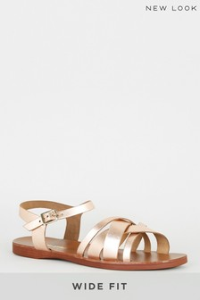 New Look Gold Wide Fit Two-Part Sandal