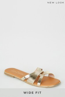 New Look Gold Wide Fit Twist Front Sandal