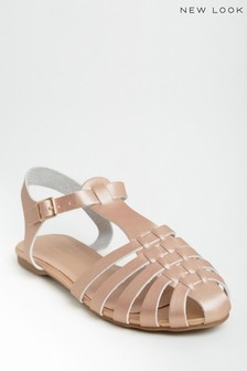 New Look Rose Gold Two-Part Woven Caged Shoes