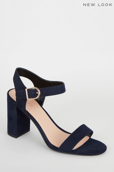 New Look Navy Suedette Ankle Strap Block Sandals