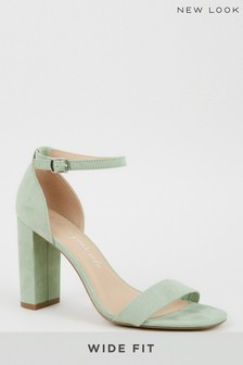 New Look Light Green Wide Fit Suedette Ankle Strap Block Heels