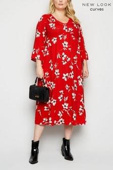 New Look Curve Tiered Frill Midi Dress