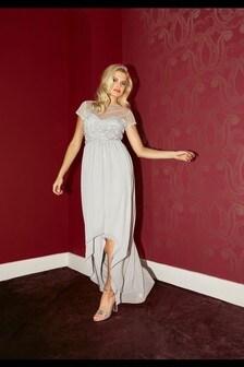 Little Mistress Grey Bridesmaid Elise Hand Embellished Sequin Hi Low Prom Dress