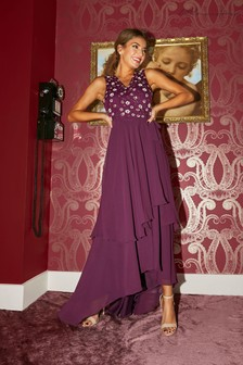 Little Mistress Purple Kassidy Sequin Hi Low Maxi Wrap Dress