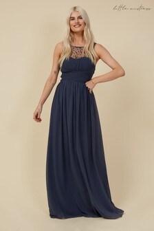 Little Mistress Grey Grace Bridesmaid Gunmetal Embellishment Sweetheart Maxi Dress