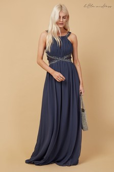 Little Mistress Grey Bridesmaid Lauren Gunmental Lace Insert Maxi Dress With Keyhole