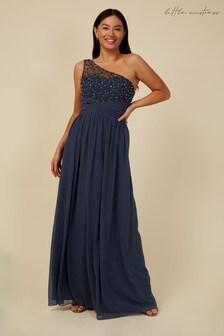 Little Mistress Grey Bridesmaid Luanna Gunmetal Embellished One-Shoulder Maxi Dress