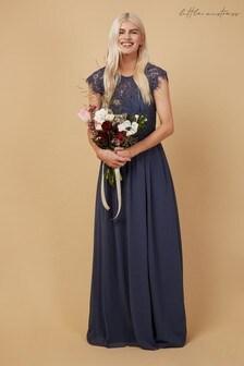 Little Mistress Grey Bridesmaid Sonja Lace Maxi Dress