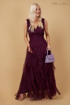 Little Mistress Purple Bridesmaid Leonora Plum Ruffle Mesh Maxi Dress