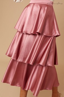 Little Mistress Brown Reign Deep Mink Satin Tiered Midi Skirt