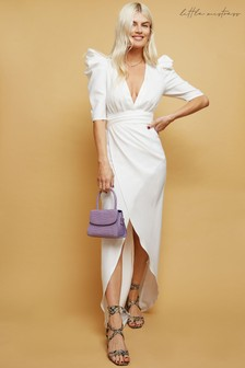 Little Mistress White Zandra Plunge Mock Wrap Midi Dress