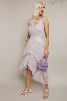 Little Mistress Grey Sarah Tiered Hi Low Midi Dress