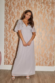 Little Mistress Grey Bridesmaid Vikki Embellished Maxi Dress