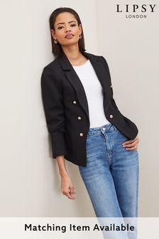 Lipsy Black Boucle Military Tailored Button Blazer