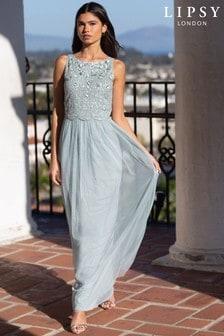 Lipsy Blue Embellished Halter Maxi Dress