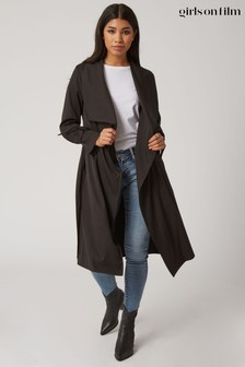 Little Mistress Black Calibre Tie Cuff Trench Coat
