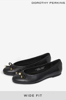 Dorothy Perkins Black Wide Leather Paige Pump