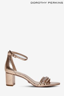 Dorothy Perkins Rose Gold Solange Jewelled Heeled Sandals