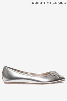 Dorothy Perkins Silver Bow Trim Ballerina Pump