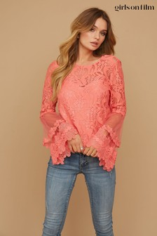 Girls On Film Coral Levine Fluted Sleeve Top
