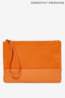 Dorothy Perkins Orange Studded Panel Clutch