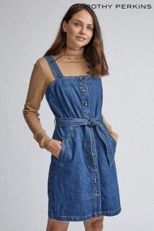 Dorothy Perkins Blue Belted Pinny Dress