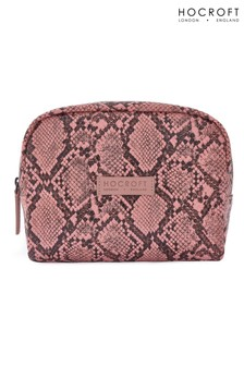 Hocroft London Daphne Medium Makeup Bag Pink Snakeskin