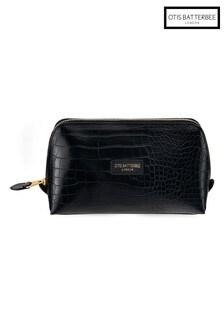 Otis Batterbee Large Downshire Makeup Bag Black Croc