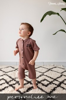 Personalised Brown Shortie All in One by Forever Sewing