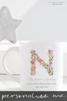 Personalised Floral Letter Nanna Mug by Gift Collective
