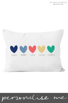 Personalised Family Heart Cushion by Gift Collective