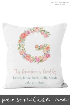 Personalised Floral Letter Grandma Cushion by Gift Collective