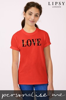 Personalised Lipsy Love Text Script Kid's T-Shirt by Instajunction