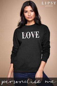 Personalised Lipsy Black Love Text Script Women's Sweatshirt by Instajunction