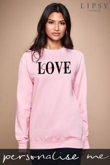 Personalised Lipsy Pink Love Text Script Women's Sweatshirt by Instajunction