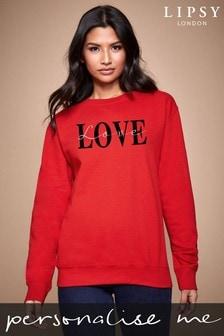 Personalised Lipsy Red Love Text Script Women's Sweatshirt by Instajunction